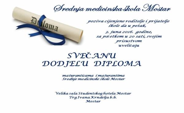 Poziv na svečanu dodjelu diploma